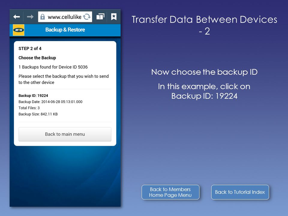 Back to Tutorial Index Transfer Data Between Devices - 2 Now choose the backup ID In this example, click on Backup ID: 19224 Back to Members Home Page Menu Back to Members Home Page Menu