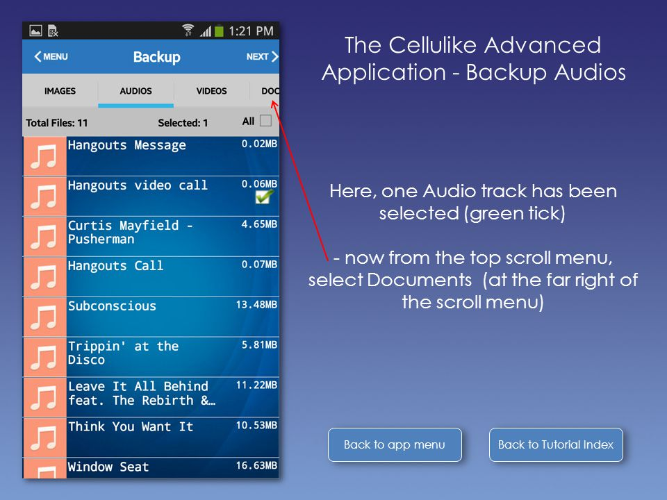 Back to Tutorial Index Back to app menu The Cellulike Advanced Application - Backup Audios Here, one Audio track has been selected (green tick) - now from the top scroll menu, select Documents (at the far right of the scroll menu)