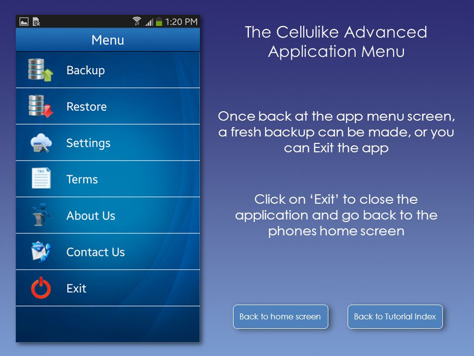 Back to Tutorial Index Back to home screen The Cellulike Advanced Application Menu Once back at the app menu screen, a fresh backup can be made, or yo