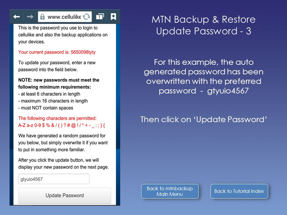 Back to Tutorial Index Back to mtnbackup Main Menu Back to mtnbackup Main Menu MTN Backup & Restore Update Password - 3 For this example, the auto generated password has been overwritten with the preferred password - gtyuio4567 Then click on 'Update Password'