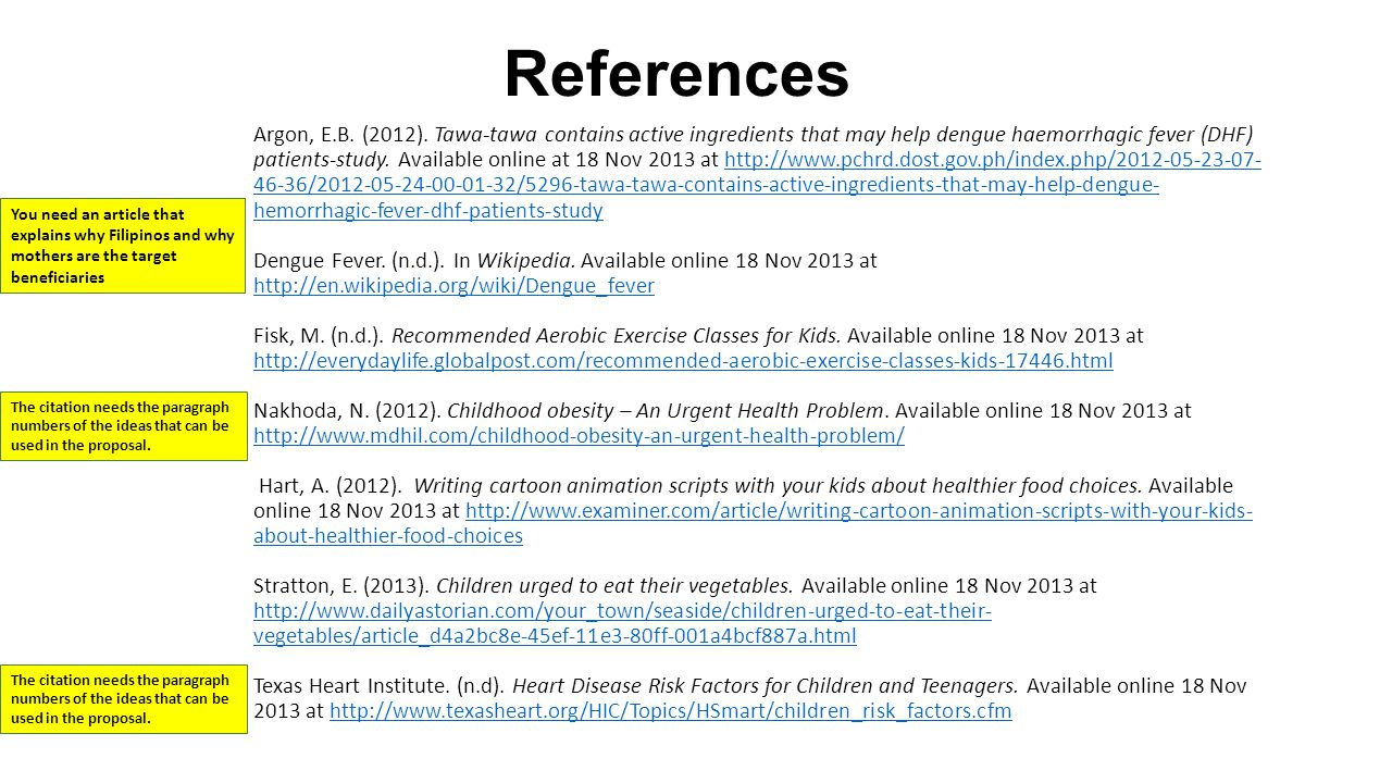 Notes Hyperlink the in-text citations.