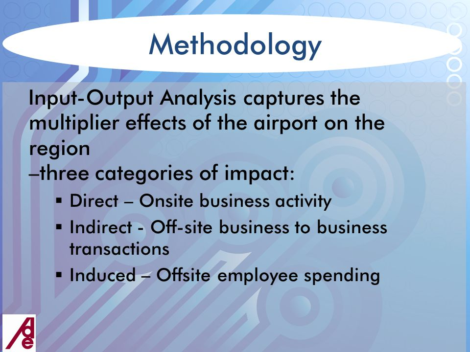 Methodology Input-Output Analysis captures the multiplier effects of the airport on the region –three categories of impact:  Direct – Onsite business activity  Indirect - Off-site business to business transactions  Induced – Offsite employee spending