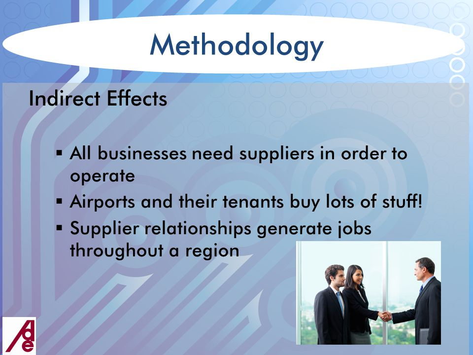 Methodology Indirect Effects  All businesses need suppliers in order to operate  Airports and their tenants buy lots of stuff.