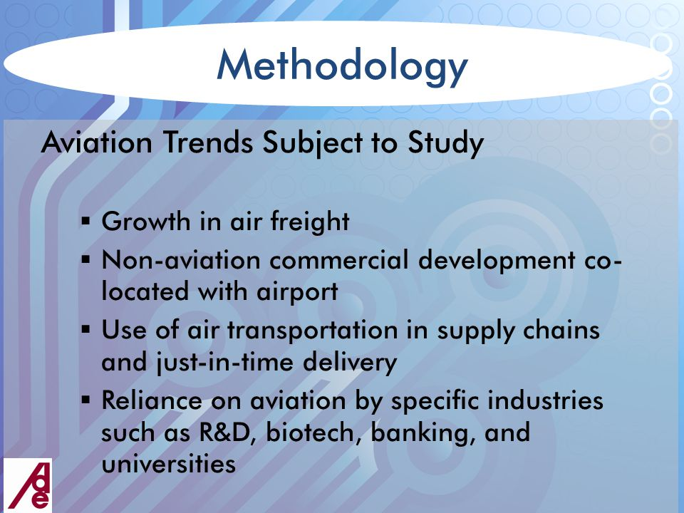 Methodology Aviation Trends Subject to Study  Growth in air freight  Non-aviation commercial development co- located with airport  Use of air transportation in supply chains and just-in-time delivery  Reliance on aviation by specific industries such as R&D, biotech, banking, and universities
