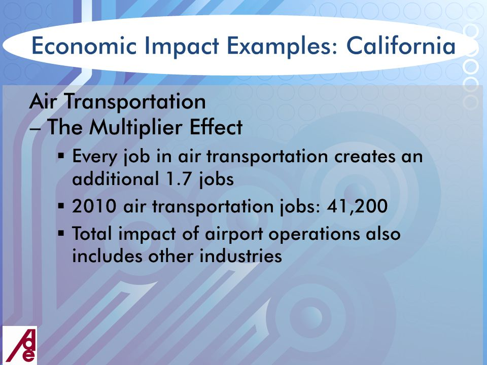 Economic Impact Examples: California Air Transportation – The Multiplier Effect  Every job in air transportation creates an additional 1.7 jobs  2010 air transportation jobs: 41,200  Total impact of airport operations also includes other industries