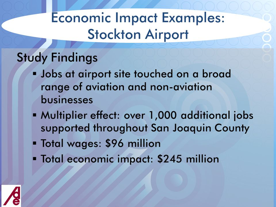 Economic Impact Examples: Stockton Airport Study Findings  Jobs at airport site touched on a broad range of aviation and non-aviation businesses  Multiplier effect: over 1,000 additional jobs supported throughout San Joaquin County  Total wages: $96 million  Total economic impact: $245 million