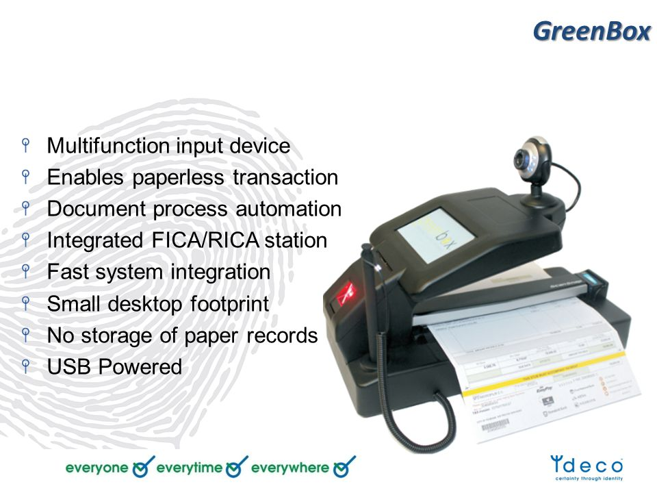 GreenBox Multifunction input device Enables paperless transaction Document process automation Integrated FICA/RICA station Fast system integration Small desktop footprint No storage of paper records USB Powered