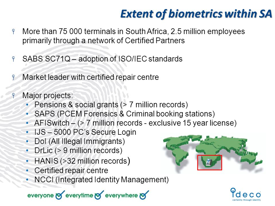 Extent of biometrics within SA More than 75 000 terminals in South Africa, 2.5 million employees primarily through a network of Certified Partners SABS SC71Q – adoption of ISO/IEC standards Market leader with certified repair centre Major projects: Pensions & social grants (> 7 million records) SAPS (PCEM Forensics & Criminal booking stations) AFISwitch – (> 7 million records - exclusive 15 year license) IJS – 5000 PC's Secure Login DoI (All Illegal Immigrants) DrLic (> 9 million records) HANIS (>32 million records ) Certified repair centre NCCI (Integrated Identity Management)