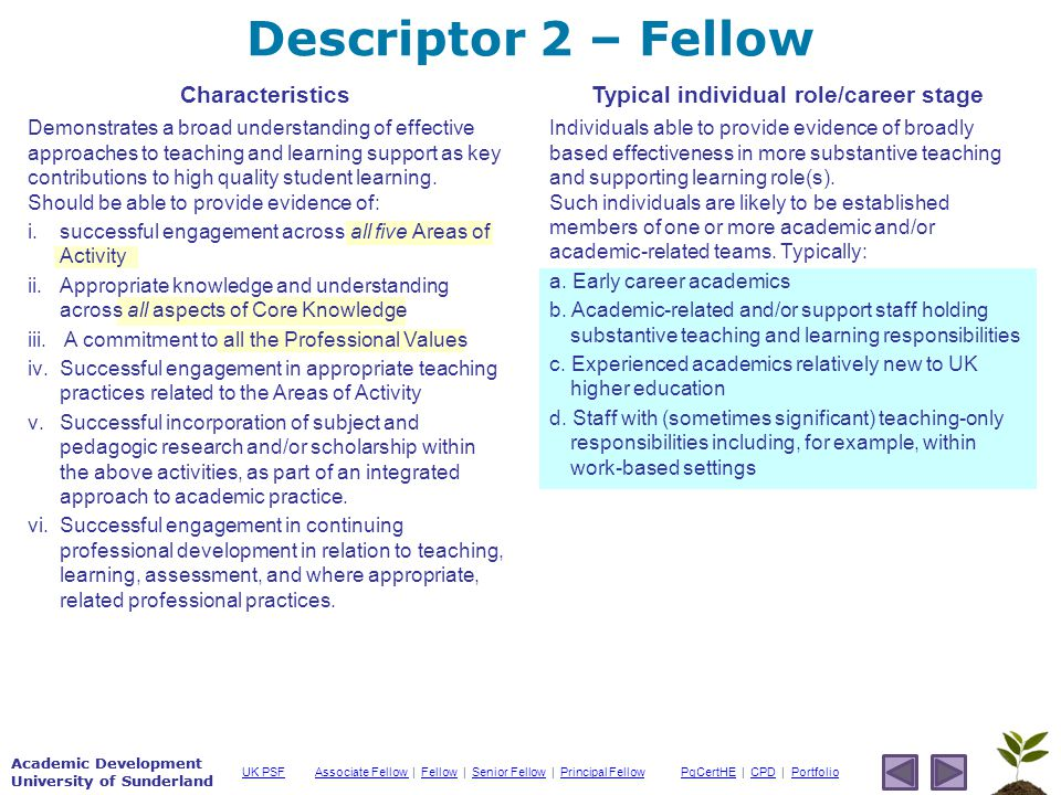 Academic Development University of Sunderland Associate Fellow Associate Fellow | Fellow | Senior Fellow | Principal FellowFellowSenior FellowPrincipal FellowPgCertHEPgCertHE | CPD | PortfolioCPDPortfolioUK PSF Academic Development University of Sunderland Descriptor 2 – Fellow Characteristics Demonstrates a broad understanding of effective approaches to teaching and learning support as key contributions to high quality student learning.