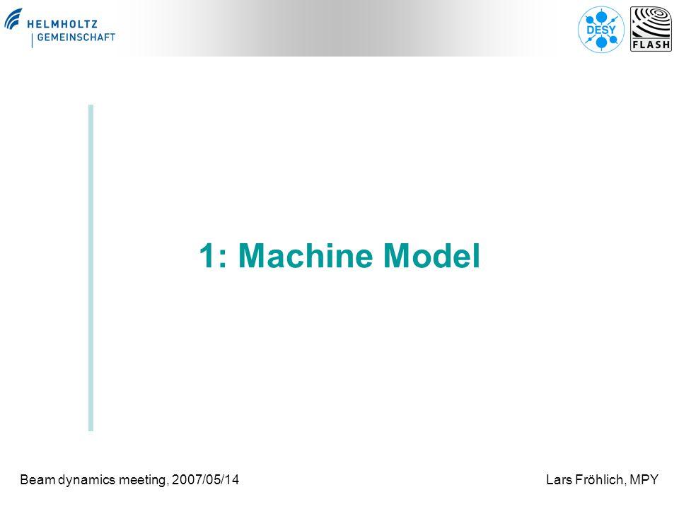 Beam dynamics meeting, 2007/05/14Lars Fröhlich, MPY 1: Machine Model