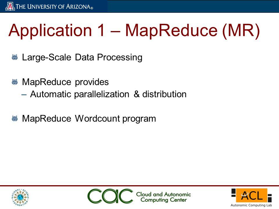 Large-Scale Data Processing MapReduce provides –Automatic parallelization & distribution MapReduce Wordcount program Application 1 – MapReduce (MR)