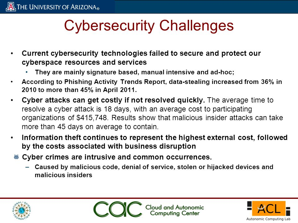Cybersecurity Challenges Current cybersecurity technologies failed to secure and protect our cyberspace resources and services They are mainly signature based, manual intensive and ad-hoc; According to Phishing Activity Trends Report, data-stealing increased from 36% in 2010 to more than 45% in April 2011.