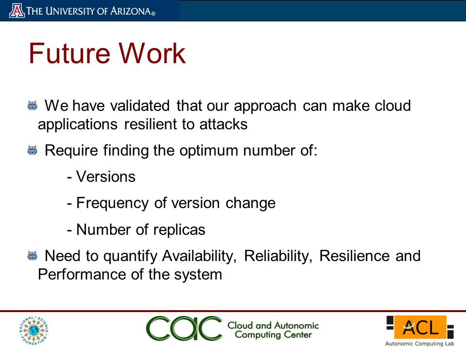 Future Work We have validated that our approach can make cloud applications resilient to attacks Require finding the optimum number of: - Versions - F