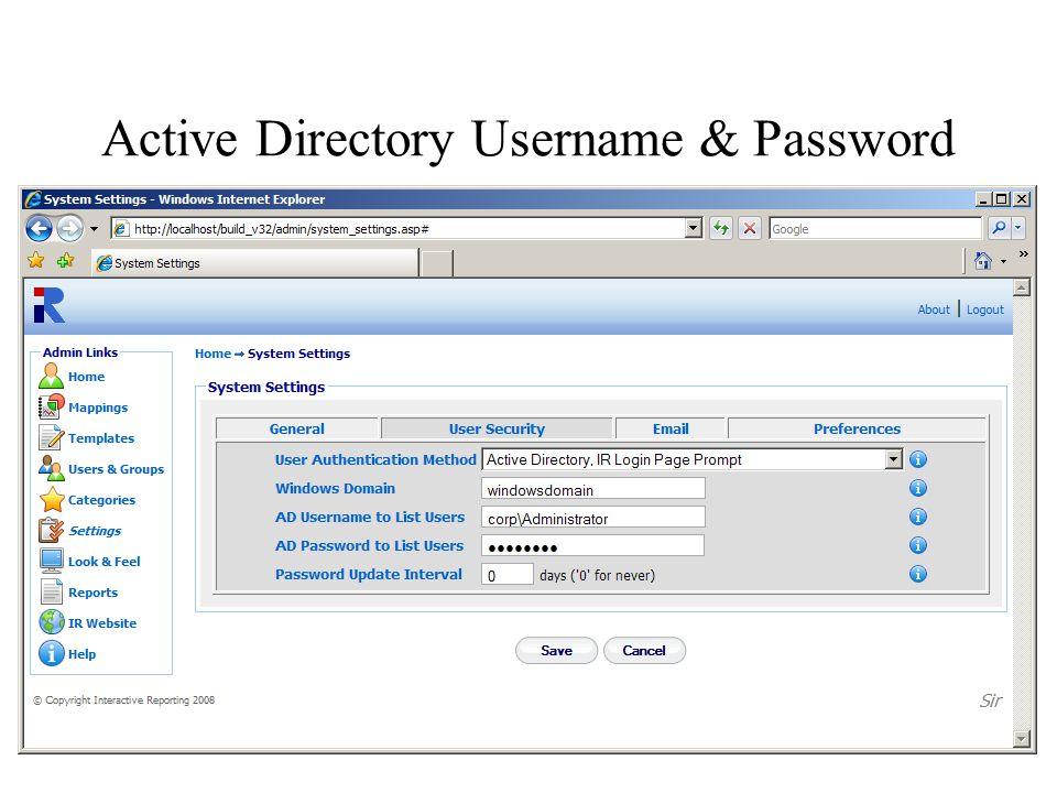 Active Directory Username & Password