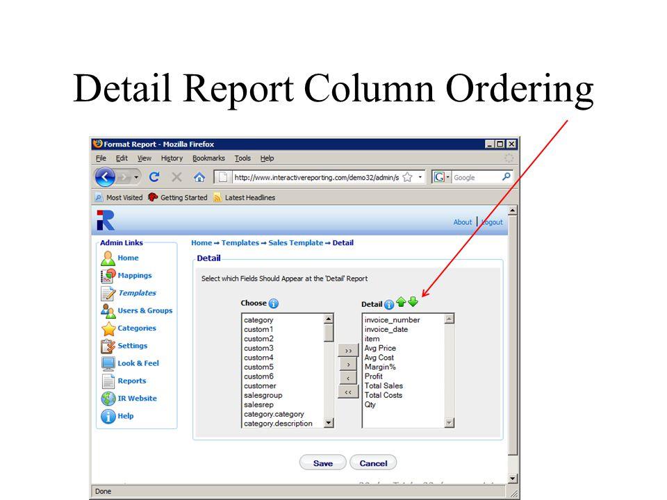 Detail Report Column Ordering