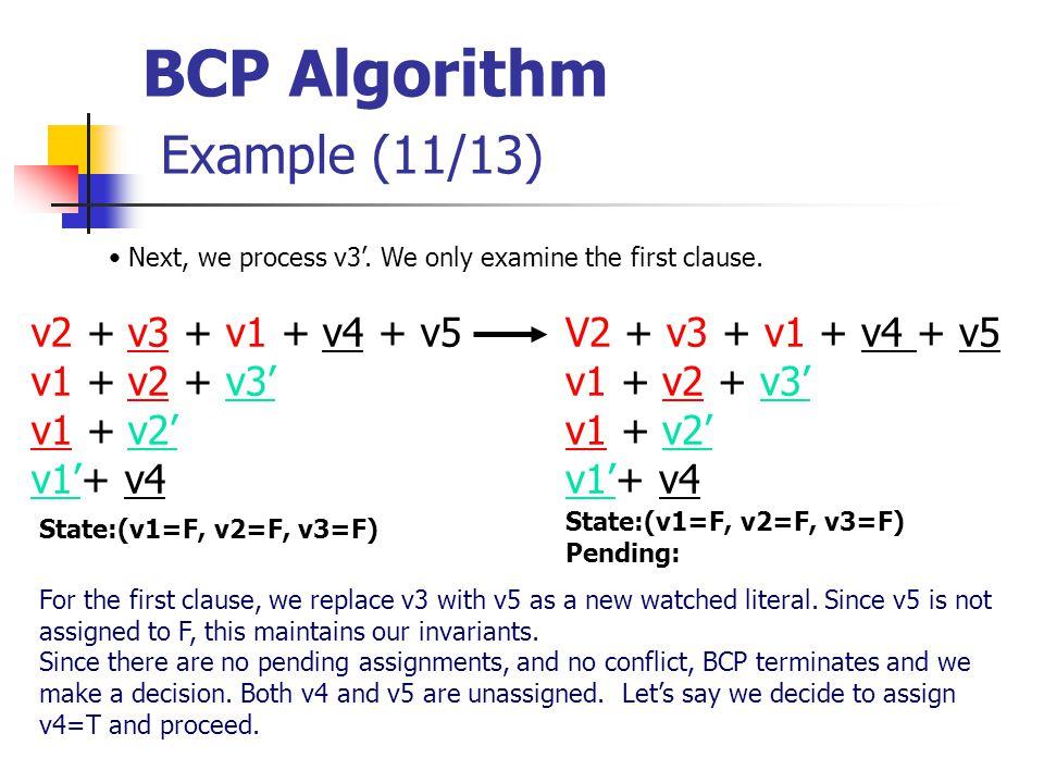 BCP Algorithm Example (11/13) V2 + v3 + v1 + v4 + v5 v1 + v2 + v3' v1 + v2' v1'+ v4 State:(v1=F, v2=F, v3=F) Next, we process v3'.