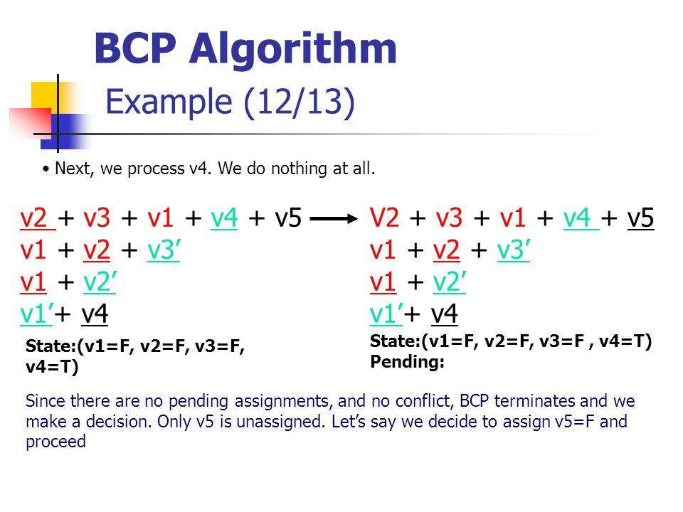 BCP Algorithm Example (12/13) V2 + v3 + v1 + v4 + v5 v1 + v2 + v3' v1 + v2' v1'+ v4 State:(v1=F, v2=F, v3=F, v4=T) Next, we process v4.