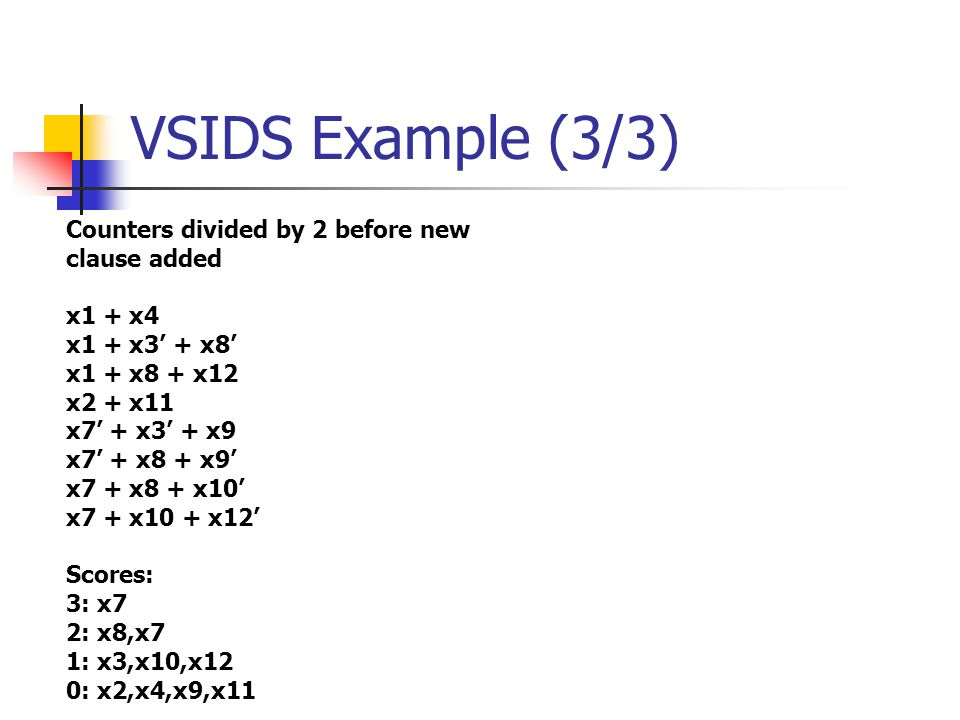 VSIDS Example (3/3) Counters divided by 2 before new clause added x1 + x4 x1 + x3' + x8' x1 + x8 + x12 x2 + x11 x7' + x3' + x9 x7' + x8 + x9' x7 + x8 + x10' x7 + x10 + x12' Scores: 3: x7 2: x8,x7 1: x3,x10,x12 0: x2,x4,x9,x11