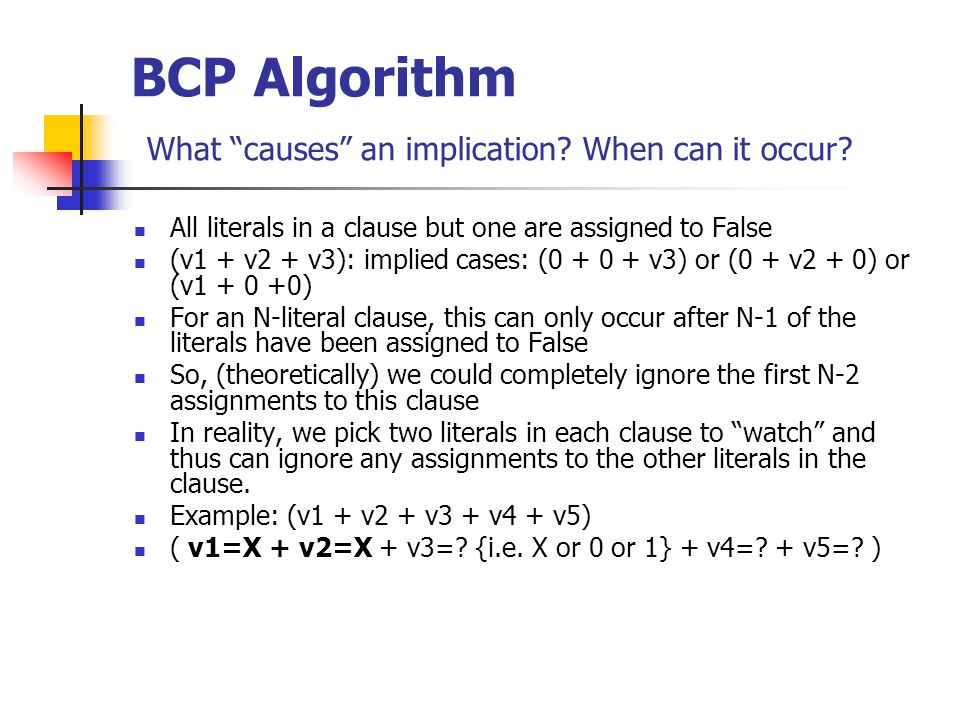 BCP Algorithm What causes an implication. When can it occur.