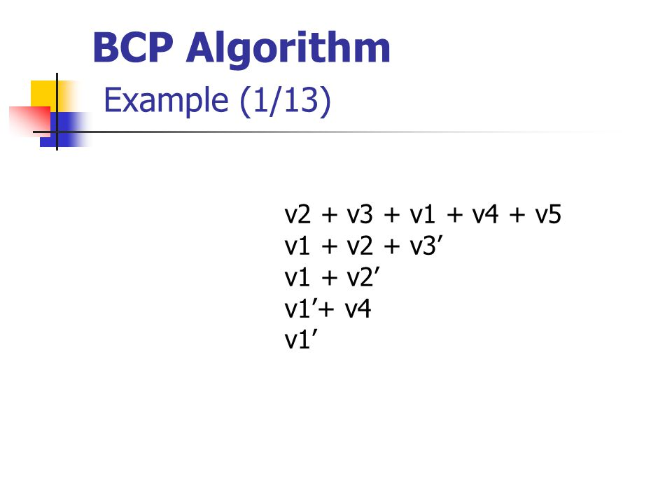 BCP Algorithm Example (1/13) v2 + v3 + v1 + v4 + v5 v1 + v2 + v3' v1 + v2' v1'+ v4 v1'