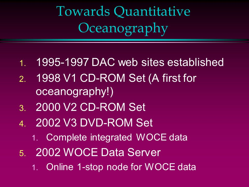 Towards Quantitative Oceanography 1. 1995-1997 DAC web sites established 2.