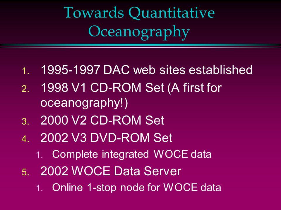 Towards Quantitative Oceanography 1. 1995-1997 DAC web sites established 2. 1998 V1 CD-ROM Set (A first for oceanography!) 3. 2000 V2 CD-ROM Set 4. 20
