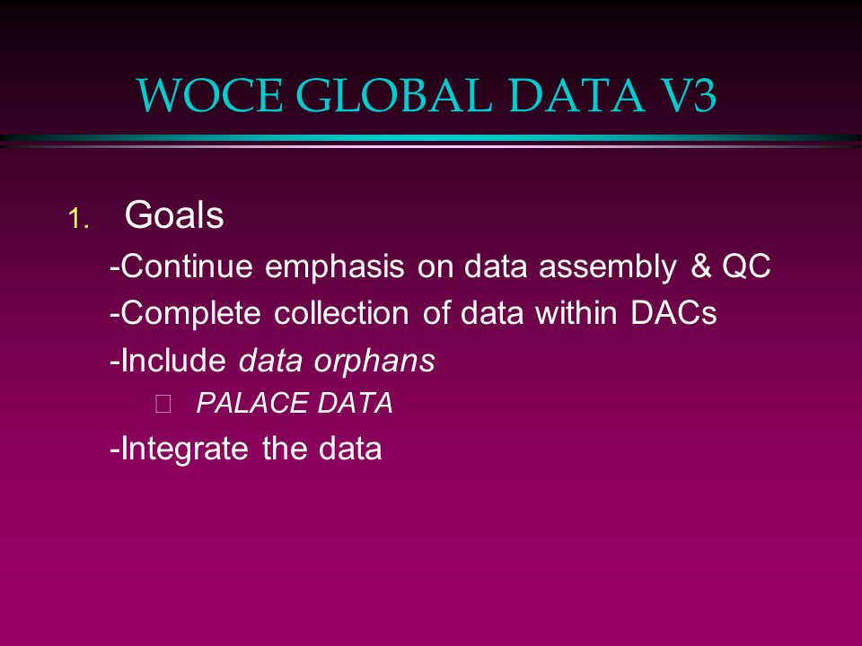 WOCE GLOBAL DATA V3 1. Goals -Continue emphasis on data assembly & QC -Complete collection of data within DACs -Include data orphans –PALACE DATA -Int