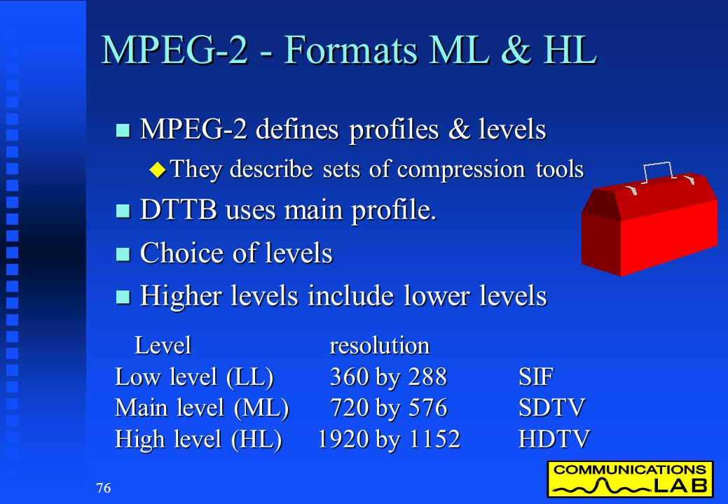 75 MPEG-2 n Compresses source video, audio & data n Segments video into I, P & B frames n Generates system control data n Packetises elements into dat