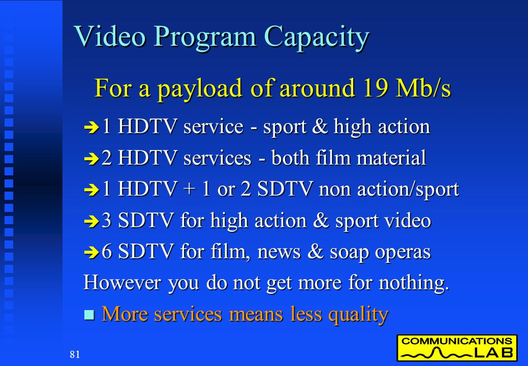 80 DTTB - Content & Services n DTTB was designed to carry video, audio and program data for television n DTTB can carry much more than just TV u Elect