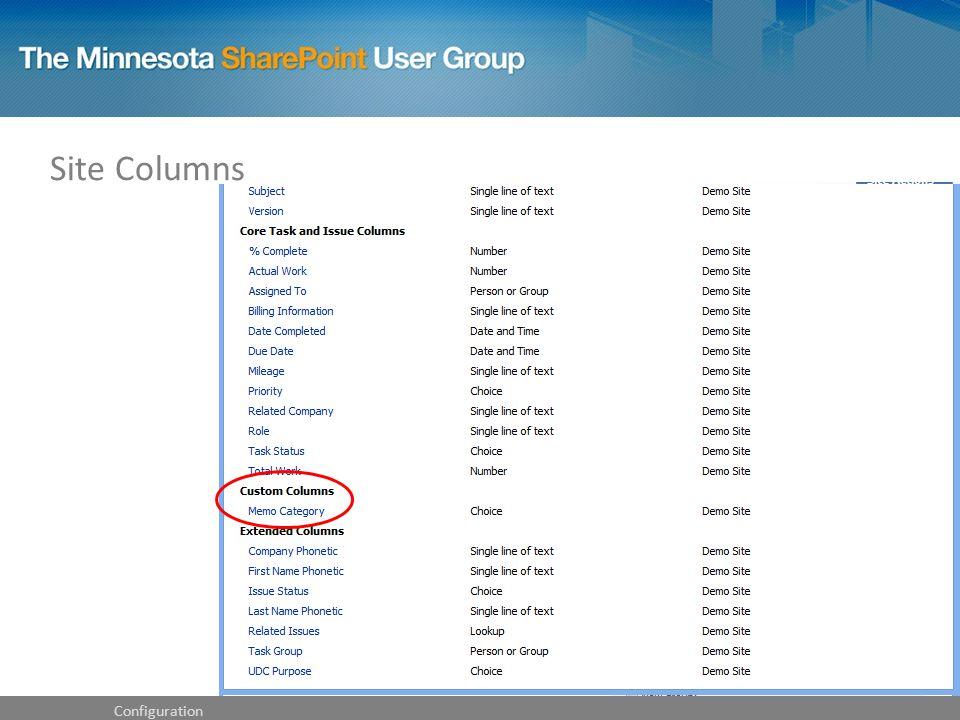Site Columns Configuration