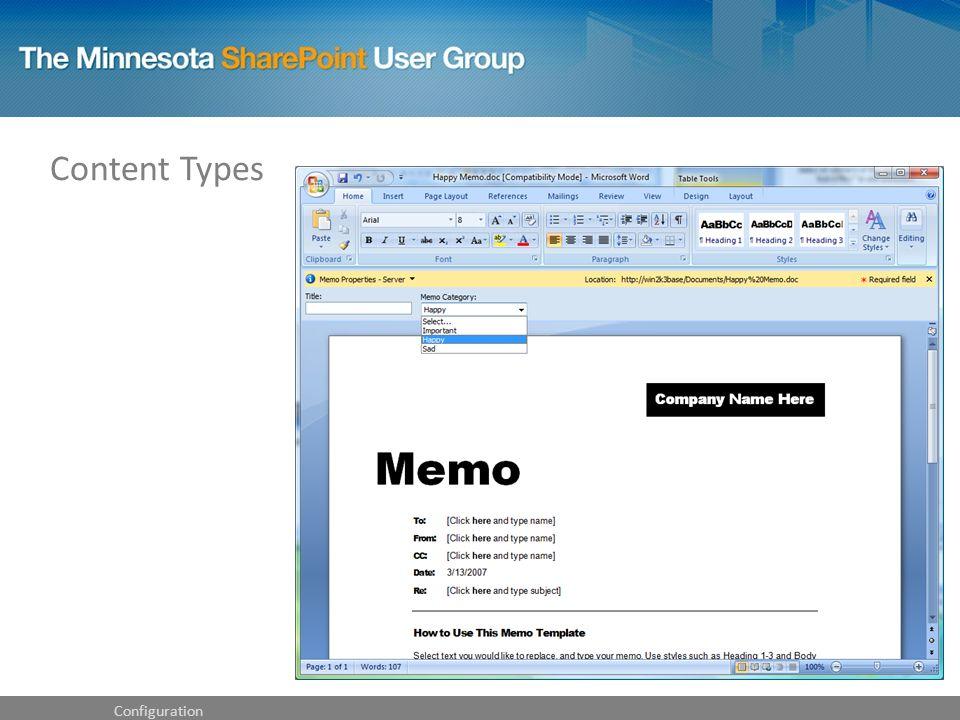 Configuration Content Types