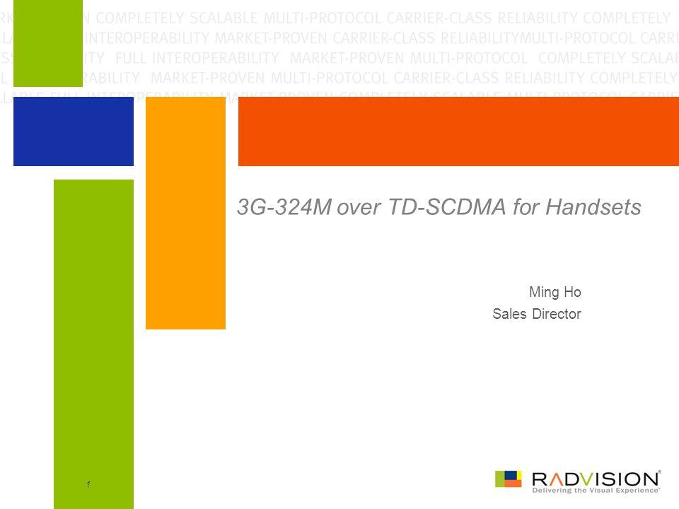 1 3G-324M over TD-SCDMA for Handsets Ming Ho Sales Director