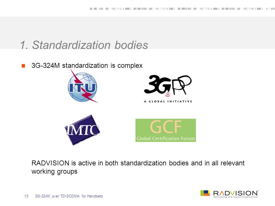 3G-324M over TD-SCDMA for Handsets13 1. Standardization bodies 3G-324M standardization is complex RADVISION is active in both standardization bodies a