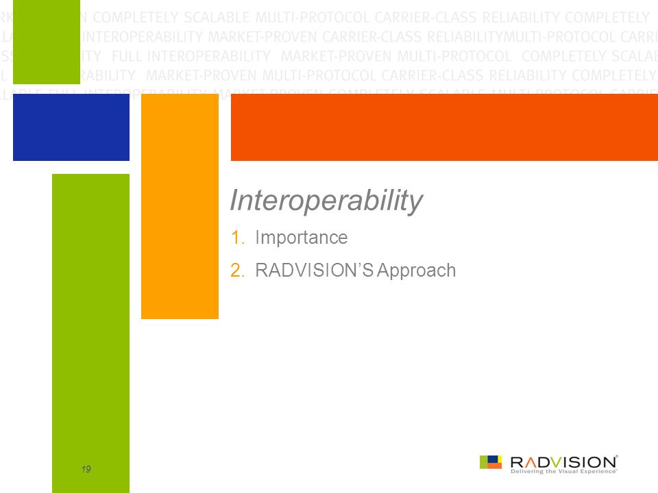 19 Interoperability 1.Importance 2.RADVISION'S Approach