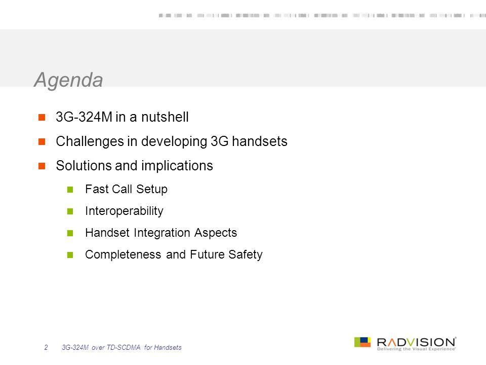 3G-324M over TD-SCDMA for Handsets13 1.