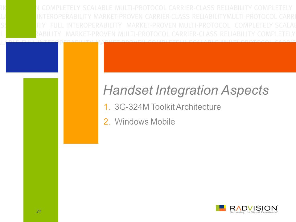 24 Handset Integration Aspects 1.3G-324M Toolkit Architecture 2.Windows Mobile