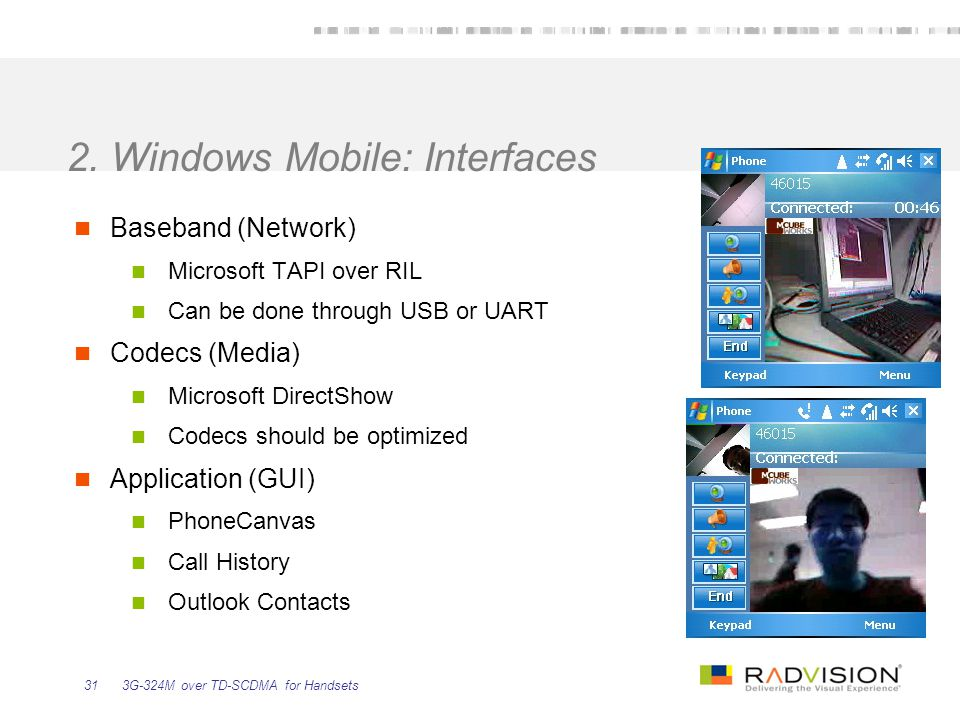 3G-324M over TD-SCDMA for Handsets31 2. Windows Mobile: Interfaces Baseband (Network) Microsoft TAPI over RIL Can be done through USB or UART Codecs (
