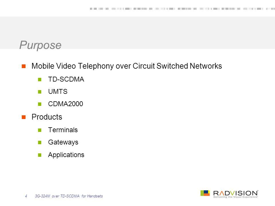 3G-324M over TD-SCDMA for Handsets25 1.
