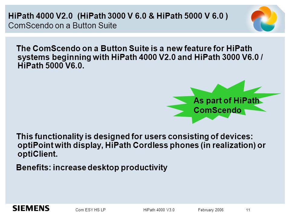 Com ESY HS LP HiPath 4000 V3.0 February 2006 11 HiPath 4000 V2.0 (HiPath 3000 V 6.0 & HiPath 5000 V 6.0 ) ComScendo on a Button Suite The ComScendo on