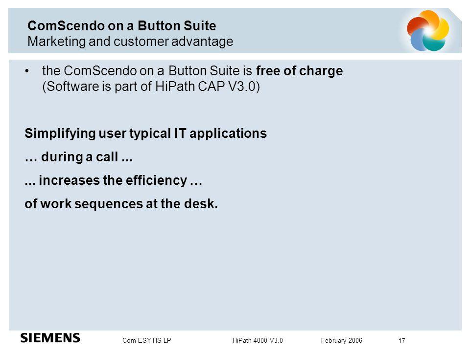 Com ESY HS LP HiPath 4000 V3.0 February 2006 17 ComScendo on a Button Suite Marketing and customer advantage the ComScendo on a Button Suite is free o