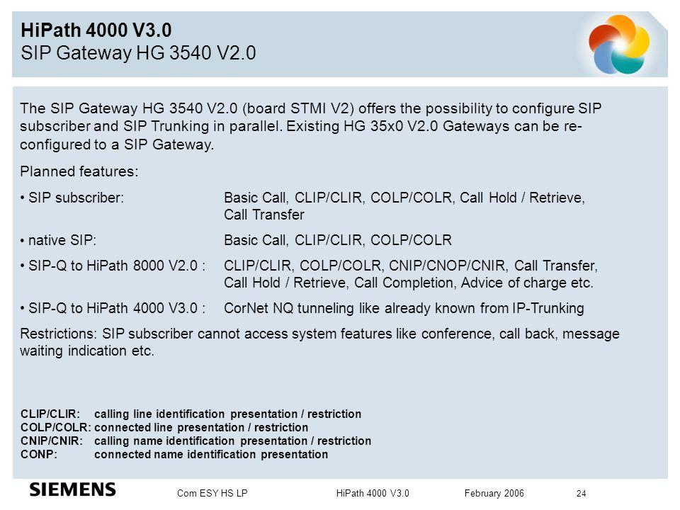 Com ESY HS LP HiPath 4000 V3.0 February 2006 24 HiPath 4000 V3.0 SIP Gateway HG 3540 V2.0 The SIP Gateway HG 3540 V2.0 (board STMI V2) offers the poss