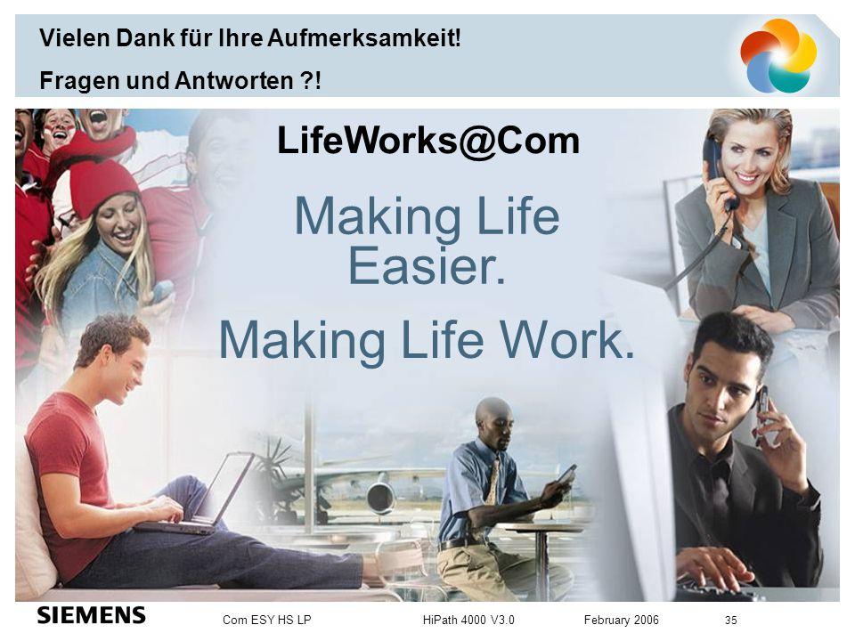 Com ESY HS LP HiPath 4000 V3.0 February 2006 35 Making Life Easier. Making Life Work. LifeWorks@Com Vielen Dank für Ihre Aufmerksamkeit! Fragen und An