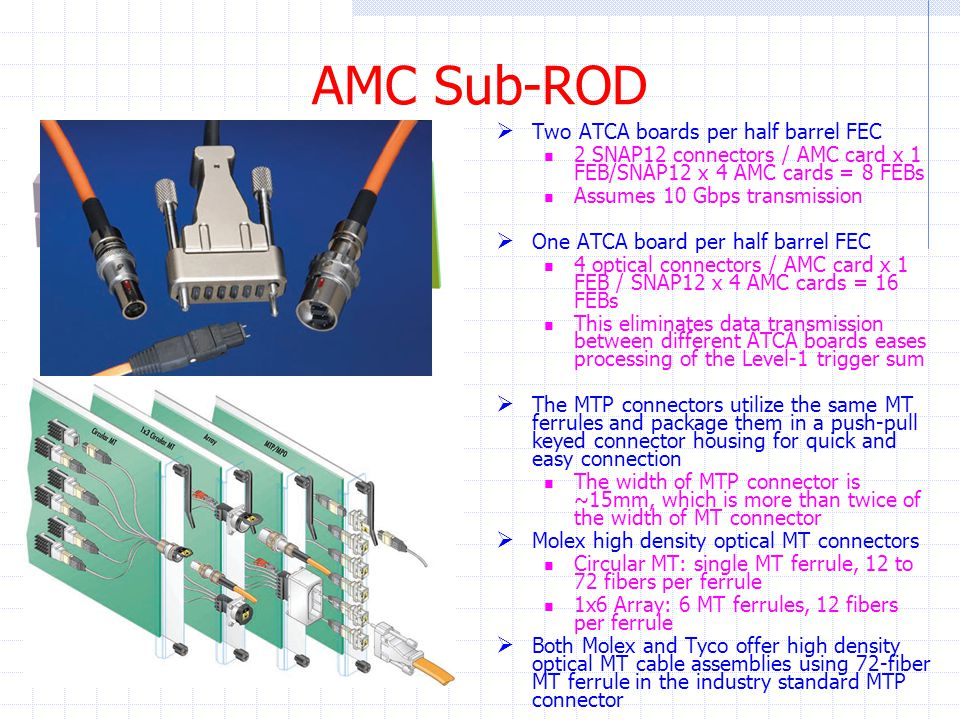 AMC Sub-ROD  Two ATCA boards per half barrel FEC 2 SNAP12 connectors / AMC card x 1 FEB/SNAP12 x 4 AMC cards = 8 FEBs Assumes 10 Gbps transmission  One ATCA board per half barrel FEC 4 optical connectors / AMC card x 1 FEB / SNAP12 x 4 AMC cards = 16 FEBs This eliminates data transmission between different ATCA boards eases processing of the Level-1 trigger sum  The MTP connectors utilize the same MT ferrules and package them in a push-pull keyed connector housing for quick and easy connection The width of MTP connector is ~15mm, which is more than twice of the width of MT connector  Molex high density optical MT connectors Circular MT: single MT ferrule, 12 to 72 fibers per ferrule 1x6 Array: 6 MT ferrules, 12 fibers per ferrule  Both Molex and Tyco offer high density optical MT cable assemblies using 72-fiber MT ferrule in the industry standard MTP connector MTP Connector Disassembly of MTP Connector MT Connector