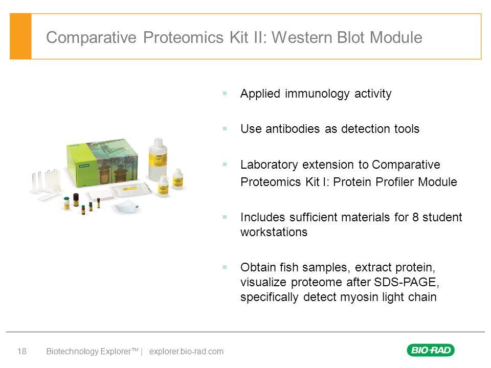Biotechnology Explorer™ | explorer.bio-rad.com 18 Comparative Proteomics Kit II: Western Blot Module  Applied immunology activity  Use antibodies as