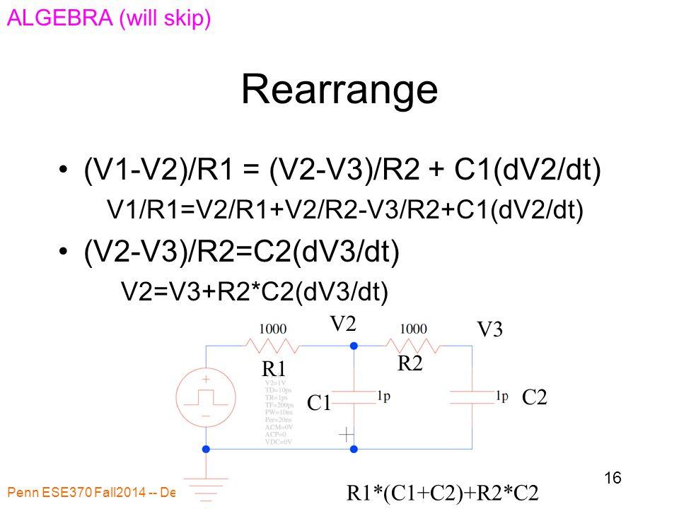 Rearrange Penn ESE370 Fall2014 -- DeHon 16 R1 R2 C1 C2 R1*(C1+C2)+R2*C2 (V1-V2)/R1 = (V2-V3)/R2 + C1(dV2/dt) V1/R1=V2/R1+V2/R2-V3/R2+C1(dV2/dt) (V2-V3)/R2=C2(dV3/dt) V2=V3+R2*C2(dV3/dt) V2 V3 ALGEBRA (will skip)