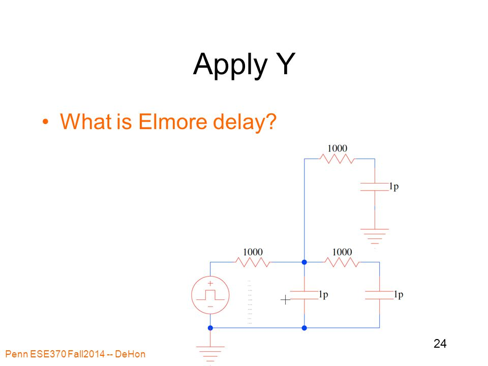 Apply Y What is Elmore delay? Penn ESE370 Fall2014 -- DeHon 24