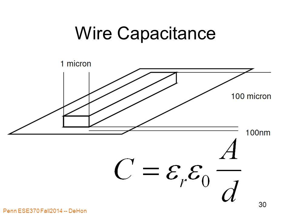Wire Capacitance Penn ESE370 Fall2014 -- DeHon 30