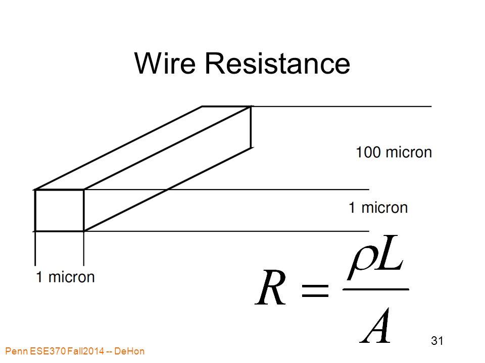 Wire Resistance Penn ESE370 Fall2014 -- DeHon 31