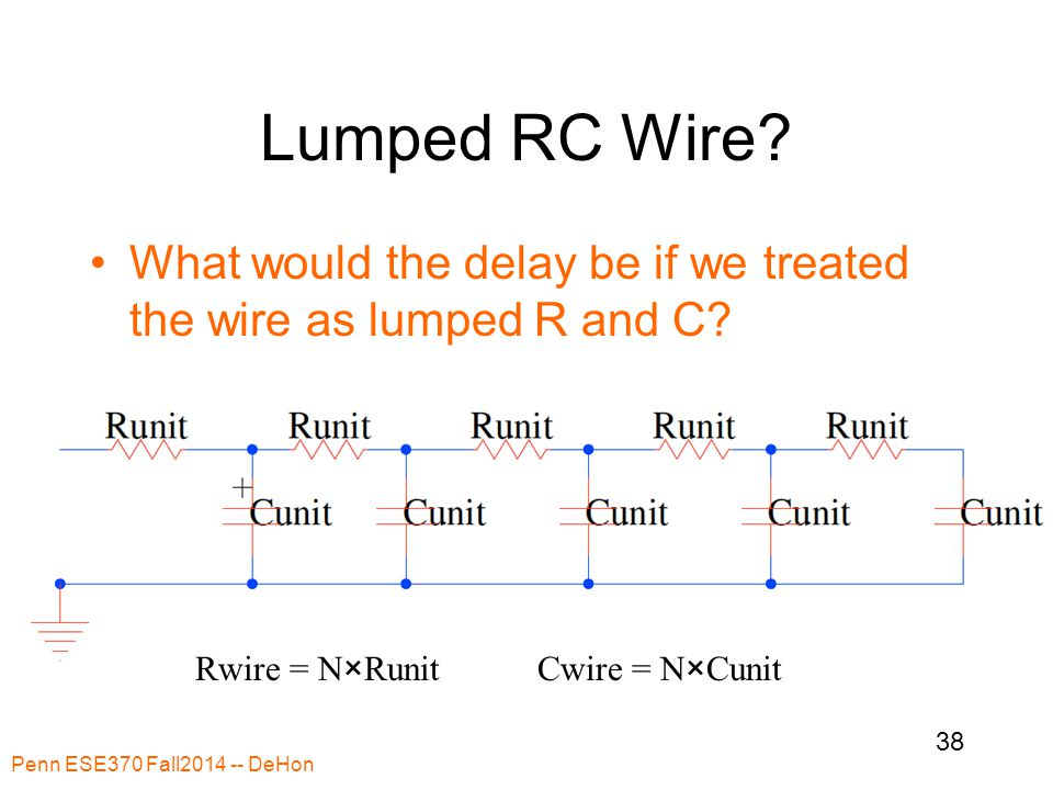 Lumped RC Wire? What would the delay be if we treated the wire as lumped R and C? Penn ESE370 Fall2014 -- DeHon 38 Rwire = N×RunitCwire = N×Cunit