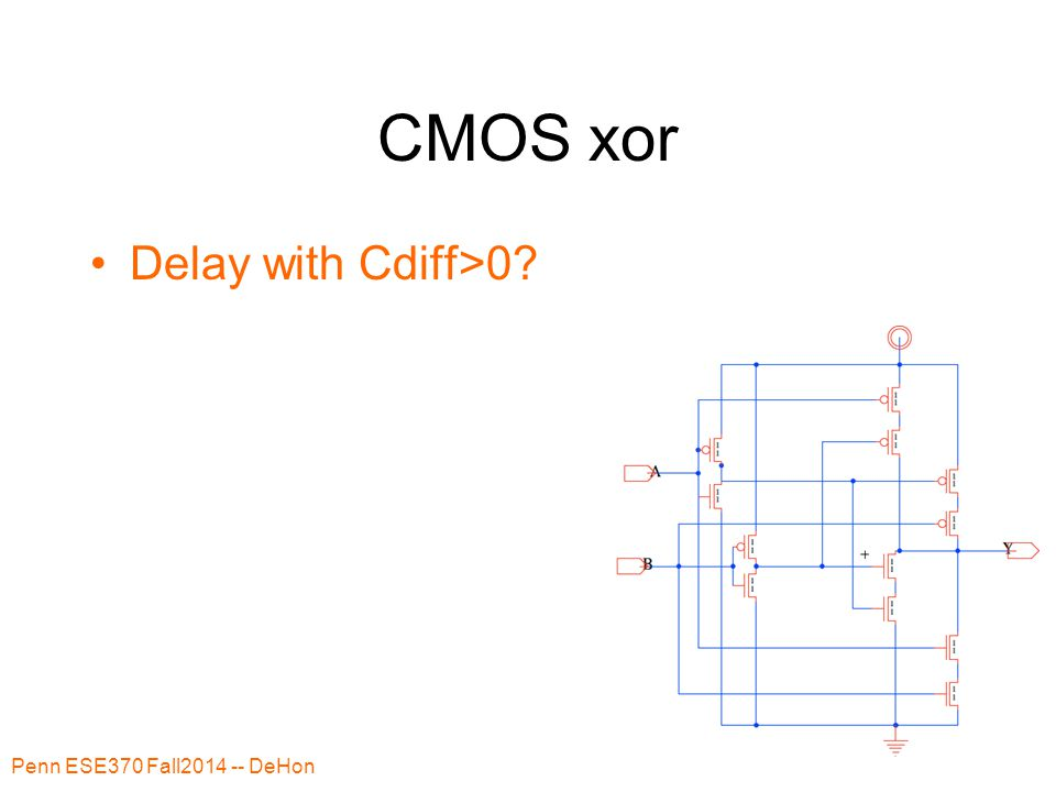 CMOS xor Delay with Cdiff>0? Penn ESE370 Fall2014 -- DeHon 49